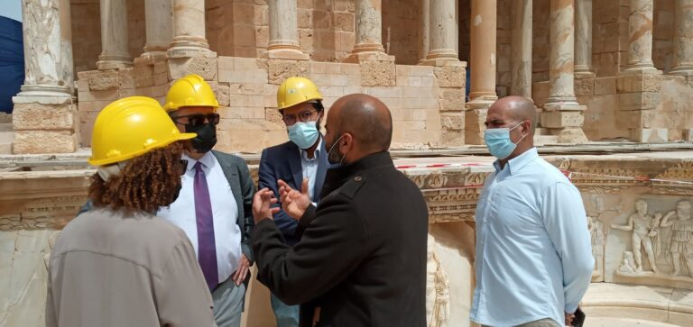 فريق أممي يُتابع أعمال مشروع ترميم وتأهيل موقع صبراتة الأثري